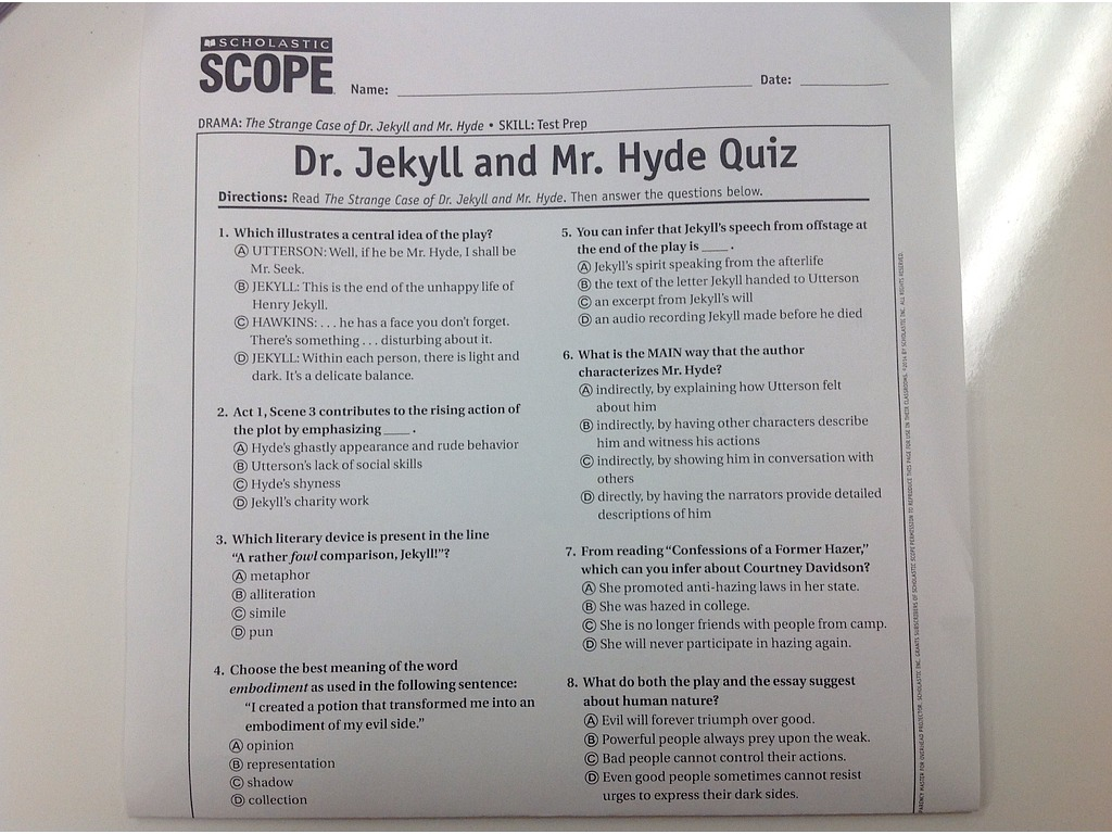 Dr  Jekyll and Mr  Hyde Quiz | Reading Comprehension | ShowMe